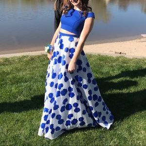 Jovani Blue 2 Piece Off the Shoulder Prom Dress